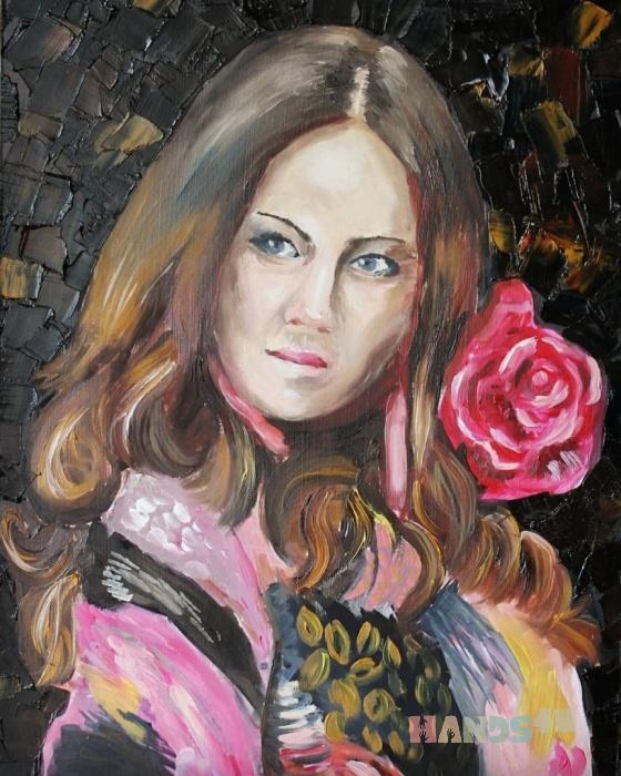 Купить Картина_Девушка_с_розой, Люди, Картины и панно ручной работы. Мастер Кристина Художник (Spice-Art) .