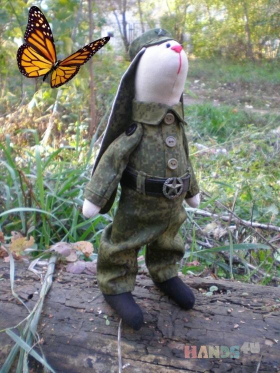 Купить ЗАЯЦ ВОЕННЫЙ, Куклы Тильды, Куклы и игрушки ручной работы. Мастер ЮЛИЯ ПЕРВУШИНА (YULIYAP) . заяц