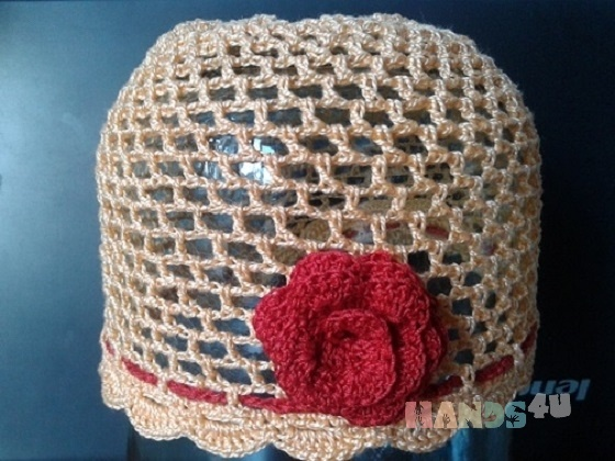 Купить Персиковая шапочка, Шапочки, шарфики, Одежда для девочек, Работы для детей ручной работы. Мастер Надежда Баринова (Naejda) . ручная вязка