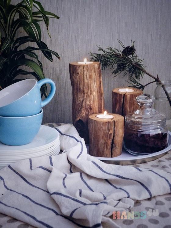 Купить Набор подсвечников из дерева, Подсвечники, Для дома и интерьера ручной работы. Мастер Екатерина Сол (HyggeStar) . большие подсвечники