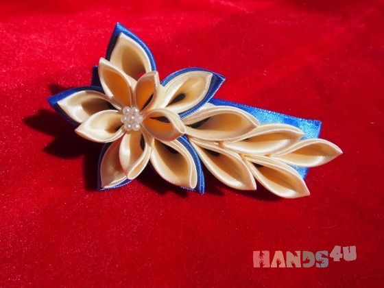 Купить Заколка из атласных лент, Украшения ручной работы. Мастер Татьяна  (Hosta) . цветок заколка