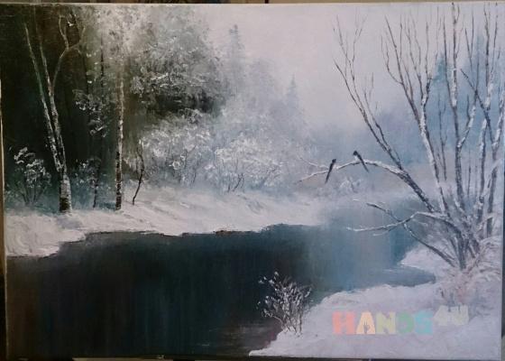 Купить Зимний день в лесу, Пейзаж, Картины и панно ручной работы. Мастер Татьяна Солодова (sweetwood) .