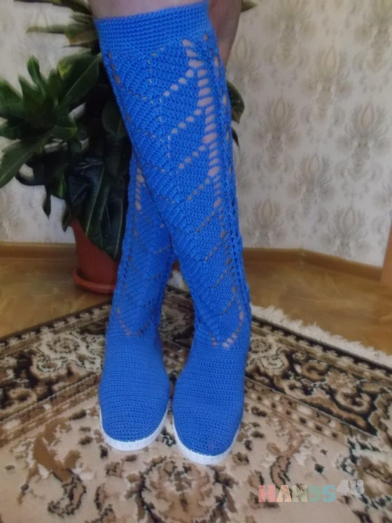 Купить Сапожки Вязаные, Летняя обувь, Обувь ручной работы. Мастер Надежда Зыбина (89293221436) . натуральный хлопок