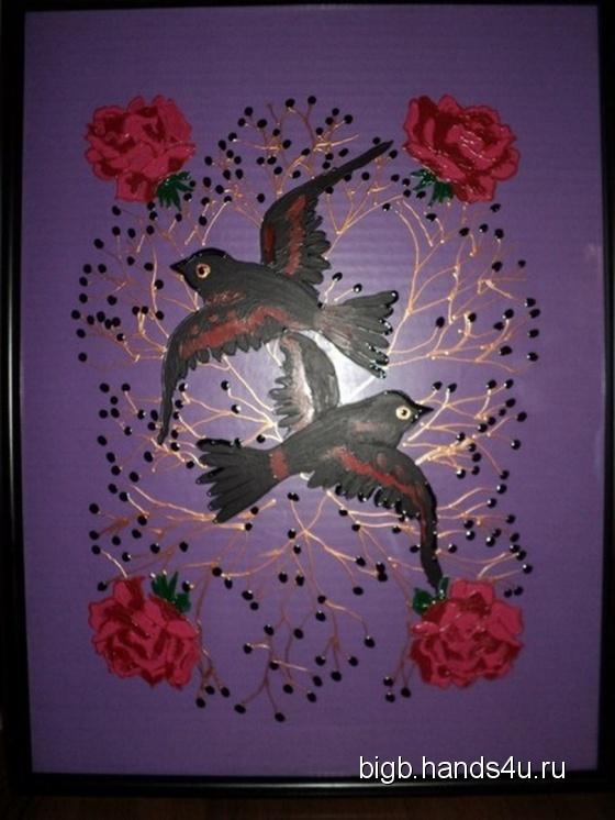 Купить Розовый куст с птицами, Картины и панно ручной работы. Мастер   (BigB) . витражная картина