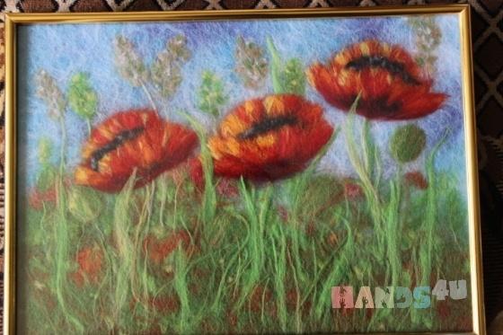 Купить Картина из шерсти Маки, Картины цветов, Картины и панно ручной работы. Мастер Марина Кринина (zvezda514) . картина из шерсти