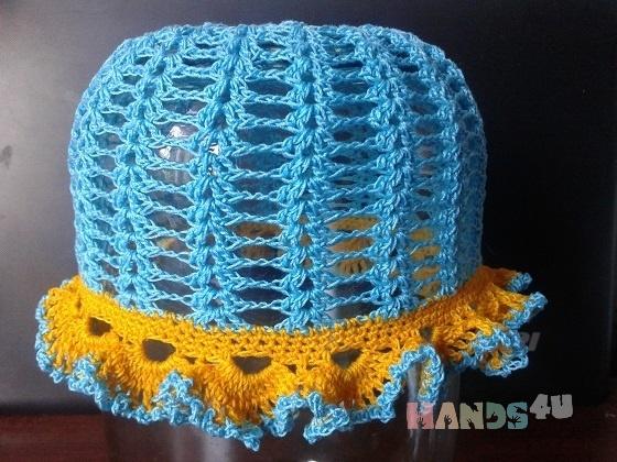 Купить Голубая шапочка, Шапочки, шарфики, Одежда для девочек, Работы для детей ручной работы. Мастер Надежда Баринова (Naejda) . ручная вязка