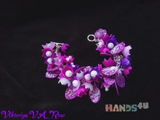 Купить Браслет Фиолетовые цветы  Украшение из полимерной глины, Полимерная глина, Браслеты, Украшения ручной работы. Мастер Виктория VA_Rose (va-rose) . полимерная глина