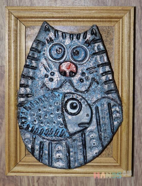 Купить Кот с рыбкой, Животные, Картины и панно ручной работы. Мастер Ксения Пищулина (Ksupy) .