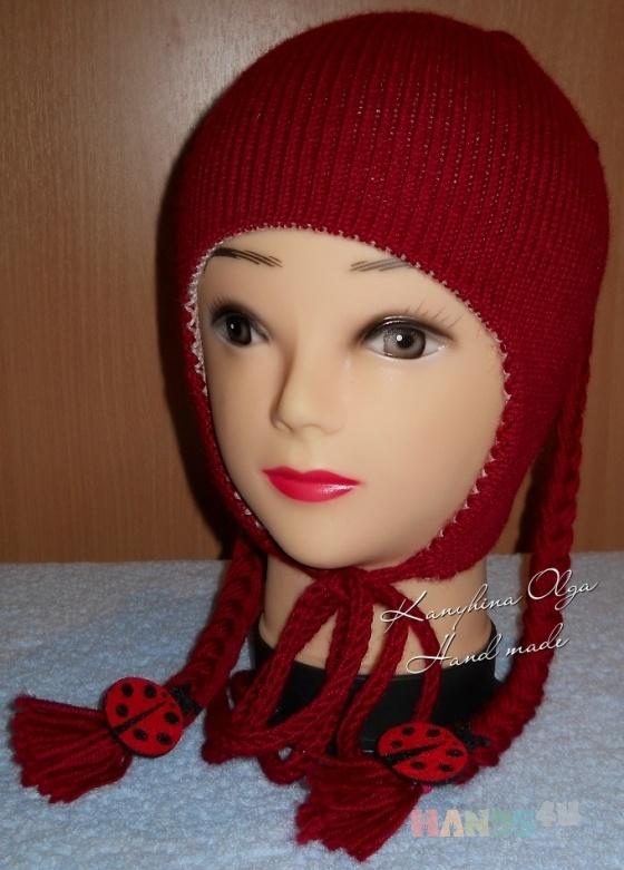 Купить Шапочка для девочки с косичками (двойная), Шапочки, шарфики, Одежда унисекс, Работы для детей ручной работы. Мастер Ольга  (Nito4ka) . вязаная шапка