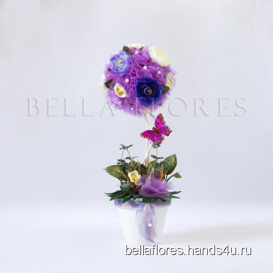 Купить Топиарий лиловая камелия, Топиарии, Цветы и флористика ручной работы. Мастер Вероника Чередник (bellaflores) .