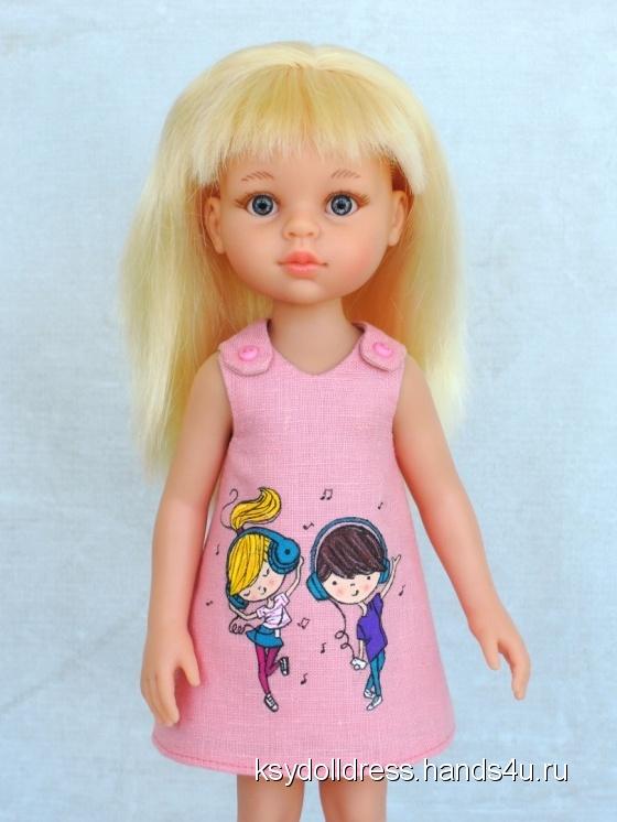 Купить Льняное платье с ручной росписью Friends для куклы Paola Reina 33 см, Одежда для кукол, Куклы и игрушки ручной работы. Мастер Оксана Алексеева (Ksydolldress) . авторское платье