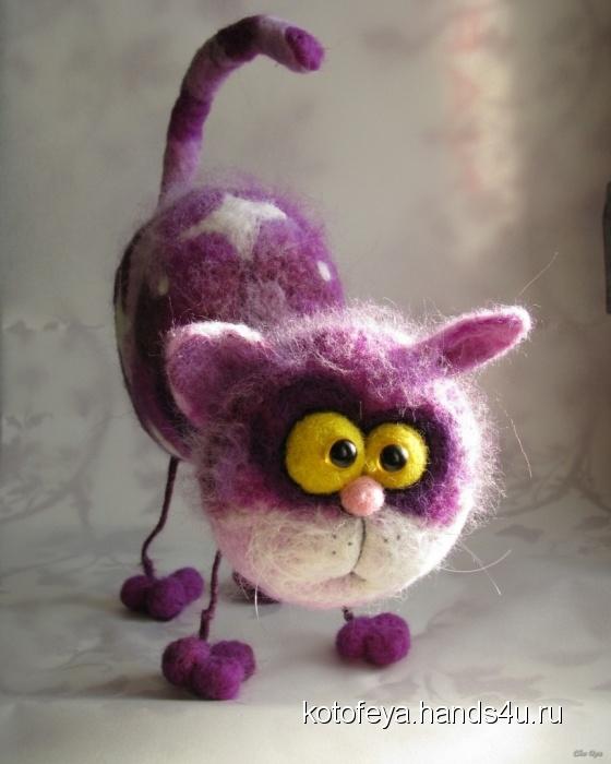 Купить Сиреневый кот, Войлочные, Коллекционные куклы, Куклы и игрушки ручной работы. Мастер   (KotoFeya) . интерьерная игрушка