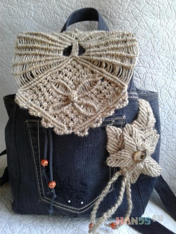Купить рюкзак из джинсовой ткани и макраме с цветком, Рюкзаки, Сумки и аксессуары ручной работы. Мастер Ирина Макрушина (irina67) . авторская сумка