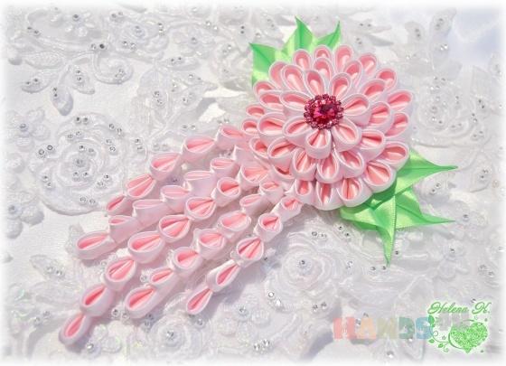 Купить Заколка - автомат  Розовый агат, Текстильные, Заколки, Украшения ручной работы. Мастер Елена Халаман (Lenni-vrn) . заколка-автомат