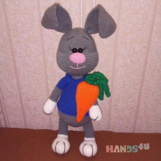 Купить Заяц с морковкой, Куклы и игрушки ручной работы. Мастер Эмма Котова (Emma1) .