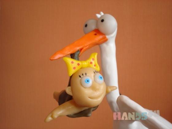 Купить Скульптура Аист с ребенком, Приколы, Сувениры и подарки ручной работы. Мастер Pavel Palamarchuk (LanDee136) . полимерная глина