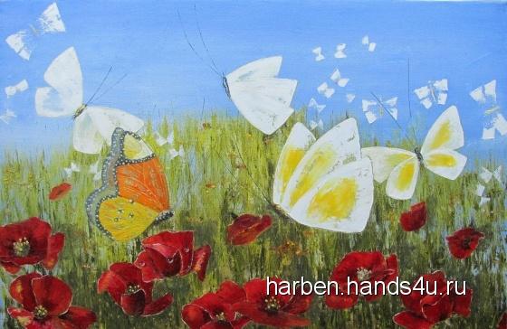 Купить Бабочки на маковом поле, Абстракция, Картины и панно ручной работы. Мастер  Арутюнян (harben) . ярко-красный