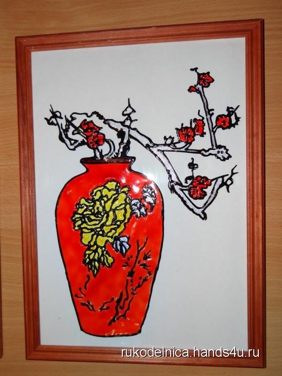 Купить Японская ваза (витражная роспись), Для дома и интерьера ручной работы. Мастер Татьяна Веселова (Rukodelnica) .