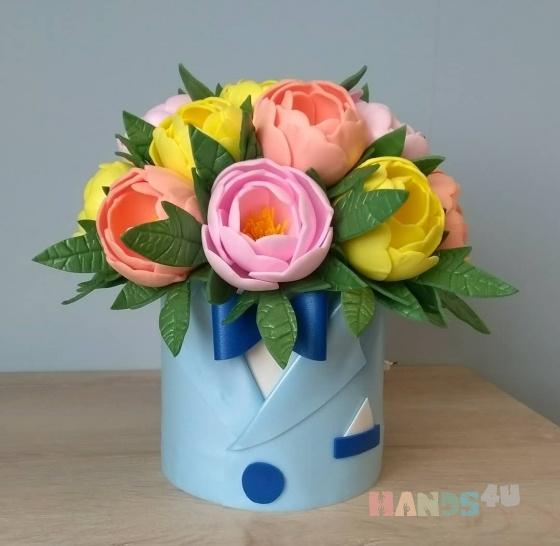 Купить Пионы в шляпной коробке, Подарки к праздникам ручной работы. Мастер екатерина девяткина (eka2266) .
