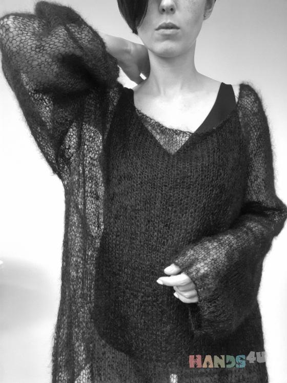 Купить Пуловер-паутинка, Джемпера, Кофты и свитера, Одежда ручной работы. Мастер Элина Шарифулина (beinblack) . ажурный пуловер
