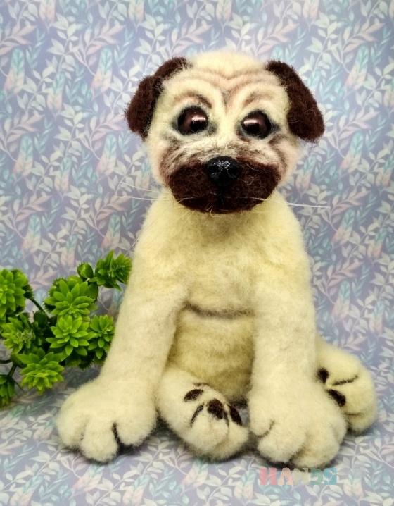 Купить Мопс из шерсти, Собаки, Зверята, Куклы и игрушки ручной работы. Мастер Екатерина Шинкаренко (episton2) . собака