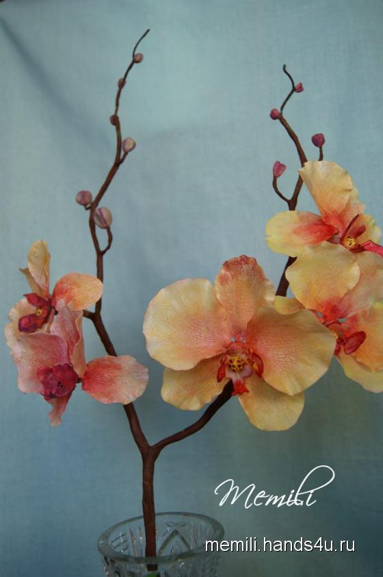 Купить Орхидея из холодного фарфора, Полимерная глина, Цветы, Цветы и флористика ручной работы. Мастер Эмилия Мемили (Memili) .
