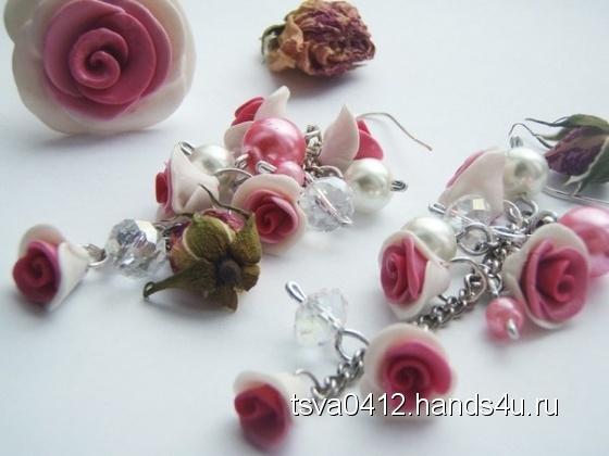 Купить розовые розы, Полимерная глина, Комплекты украшений, Украшения ручной работы. Мастер Таисия Шишкина (tsva0412) . полимерная глина фимо