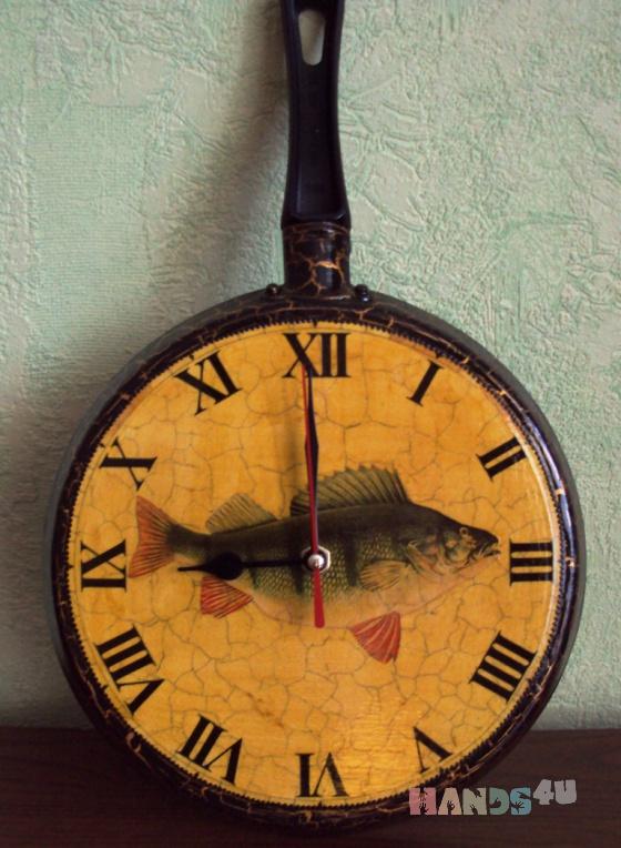 Купить Часы для кухни Окунь, Кухонные, Часы для дома, Для дома и интерьера ручной работы. Мастер Татьяна Макарова (TatianaM) .