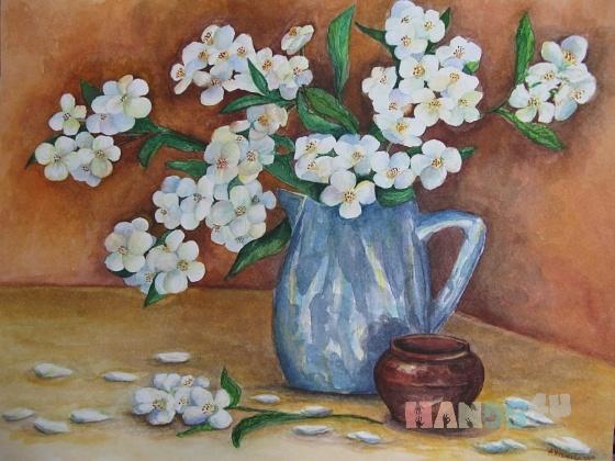 Купить Букет жасмина, Картины цветов, Картины и панно ручной работы. Мастер Алла Новикова (mammi5) .