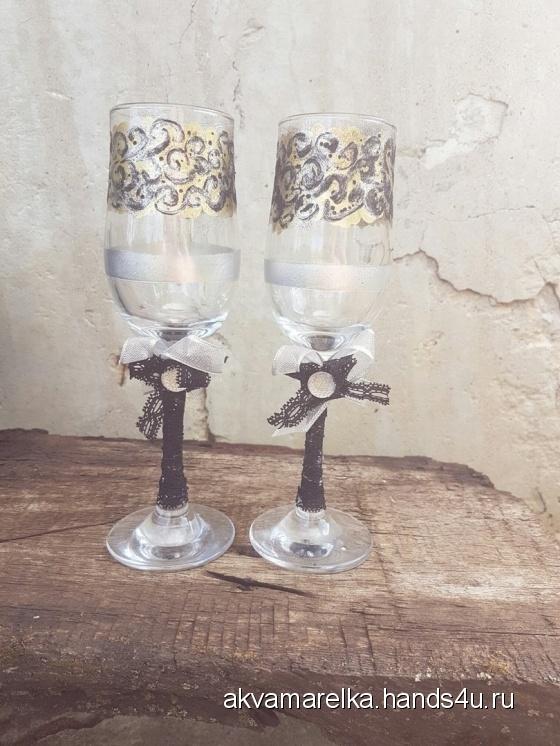 Купить Готика, Свадебные бокалы, Свадебные аксессуары, Свадебный салон ручной работы. Мастер Евгения  (Akvamarelka) . бокалы для жениха и невесты