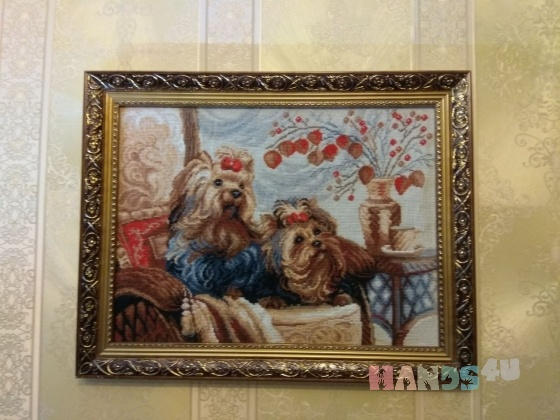 Купить Картина вышивка Домашние любимцы, Животные, Картины и панно ручной работы. Мастер Елена Двойникова (elenadva) . вышитая картина