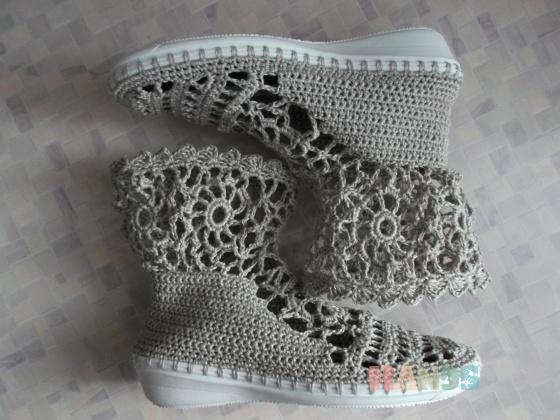 Купить Вязаные ботиночки, Летняя обувь, Обувь ручной работы. Мастер Надежда Зыбина (89293221436) . ручная вязка