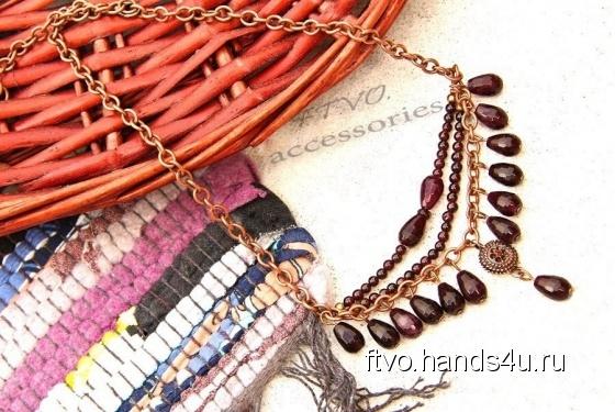 Купить Ожерелье из граната, Полудрагоценные камни, Камни и жемчуг, Колье, бусы, Украшения ручной работы. Мастер   (ftvo) . ожерелье
