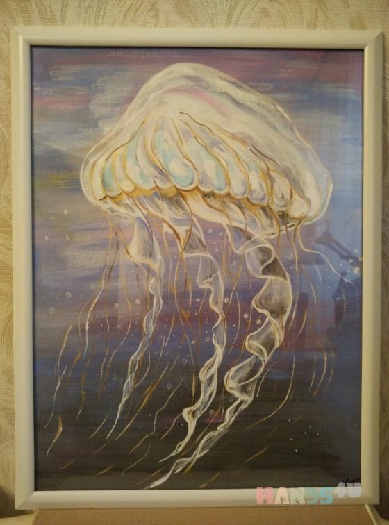 Купить Медуза, Животные, Картины и панно ручной работы. Мастер Марина Сидорук (marinaim) .