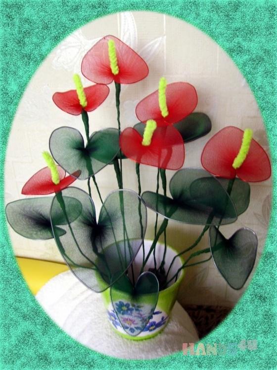 Купить Антуриум капроновый, Из ткани и кожи, Интерьерные композиции, Цветы и флористика ручной работы. Мастер Елена Белецкая (mianamiana) .