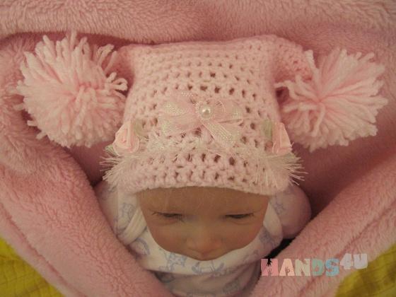 Купить Шапочка для новорожденной Принцессы, Шапочки, Для новорожденных, Работы для детей ручной работы. Мастер Юлиана Илотовская (Ilotoshka) . шапка