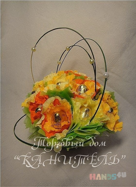 Купить Солнечная, Букеты из конфет, Букеты, Цветы и флористика ручной работы. Мастер Екатерина  (Kanitell) . конфетный букет