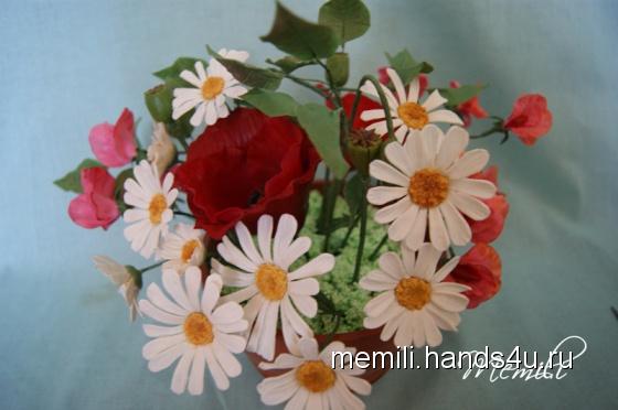 Купить Цветочная композиция Маки, Полимерная глина, Цветы, Цветы и флористика ручной работы. Мастер Эмилия Мемили (Memili) .