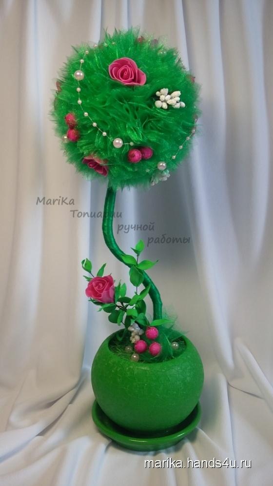 Купить Топиарии из зеленой органзы, Топиарии, Цветы и флористика ручной работы. Мастер Мария Коровина (MariKa) . топиарий