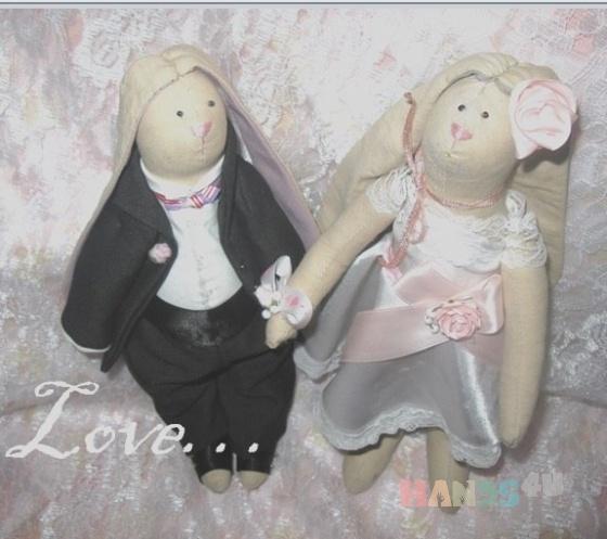 Купить Зайчики - пара, Куклы и игрушки ручной работы. Мастер Анна Пинкова (Spasibo) .