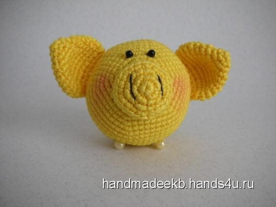Купить Ёлочная игрушка свиношарик жёлтый, Елочные украшения, Новый год, Подарки к праздникам ручной работы. Мастер Михаил Косарев (HandmadeEkb) .