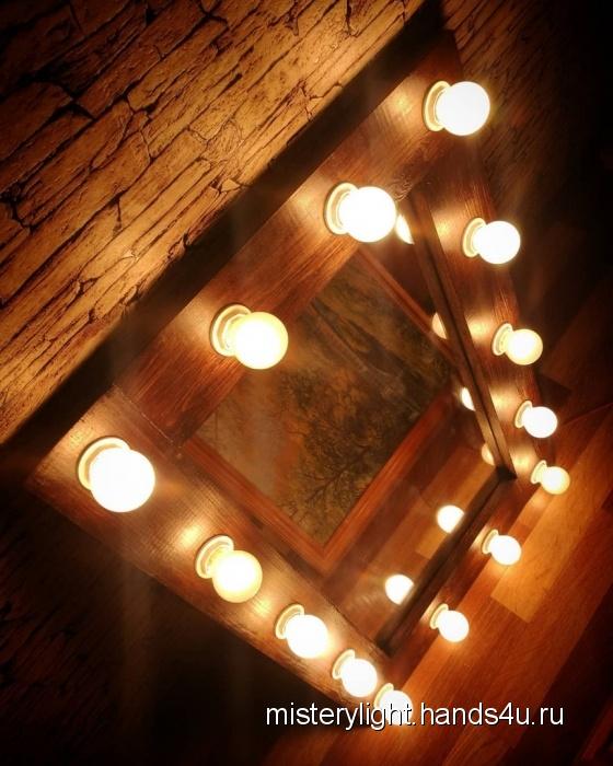 Купить Гримерное зеркало MisteryLight, Средние, Зеркала, Для дома и интерьера ручной работы. Мастер light mistery (misterylight) . массив сосны