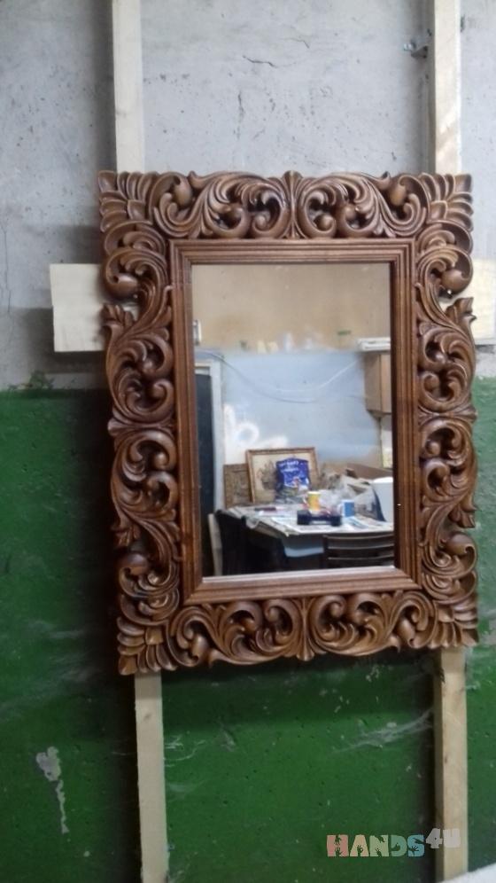 Купить Зеркало резное, Средние, Зеркала, Для дома и интерьера ручной работы. Мастер Анна Лебедева (Lebedeva42) . резьба по дереву