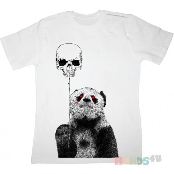 Купить Зомби-панда с шариком-черепом, Футболки, Футболки, майки, Одежда ручной работы. Мастер   (mustang) . панда