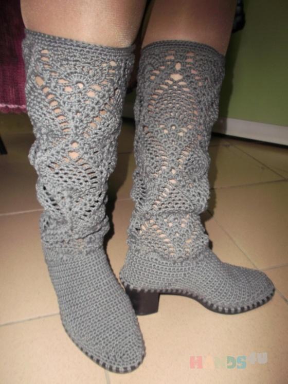 Купить Вязаные сапожки, Летняя обувь, Обувь ручной работы. Мастер Надежда Зыбина (89293221436) . натуральный хлопок