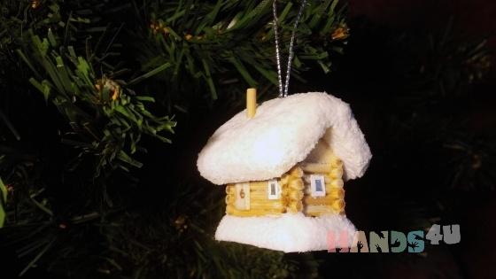 Купить Ёлочная игрушка Заснеженный домик, Новогодние сувениры, Новый год, Подарки к праздникам ручной работы. Мастер Виктор  (Vikont1970) . натуральное дерево