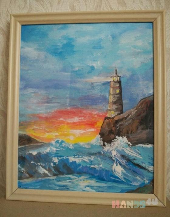 Купить Маяк, Пейзаж, Картины и панно ручной работы. Мастер Марина Сидорук (marinaim) .