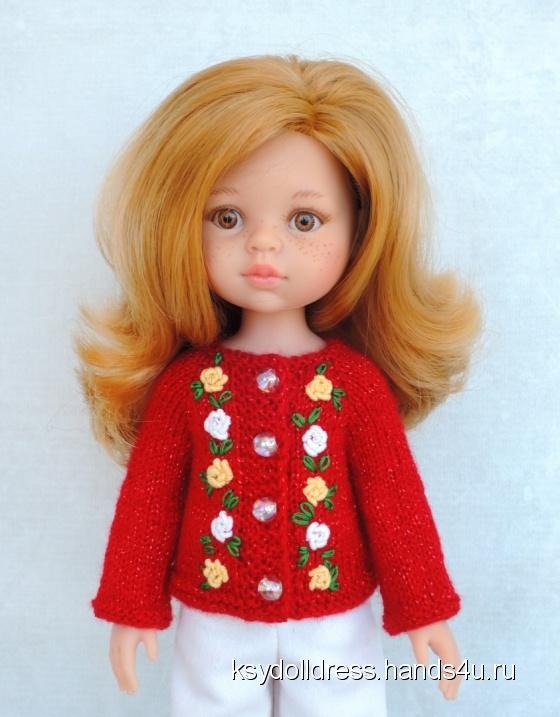 Купить Вязаная кофточка с вышивкой рококо для куклы Paola Reina 33 см, Одежда для кукол, Куклы и игрушки ручной работы. Мастер Оксана Алексеева (Ksydolldress) . для куклы