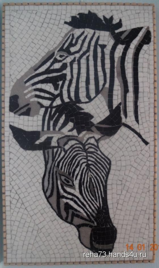 Купить Панно из мозаики ЗЕБРЫ, Животные, Картины и панно ручной работы. Мастер Игорь Рёхин (reha73) . мозаика