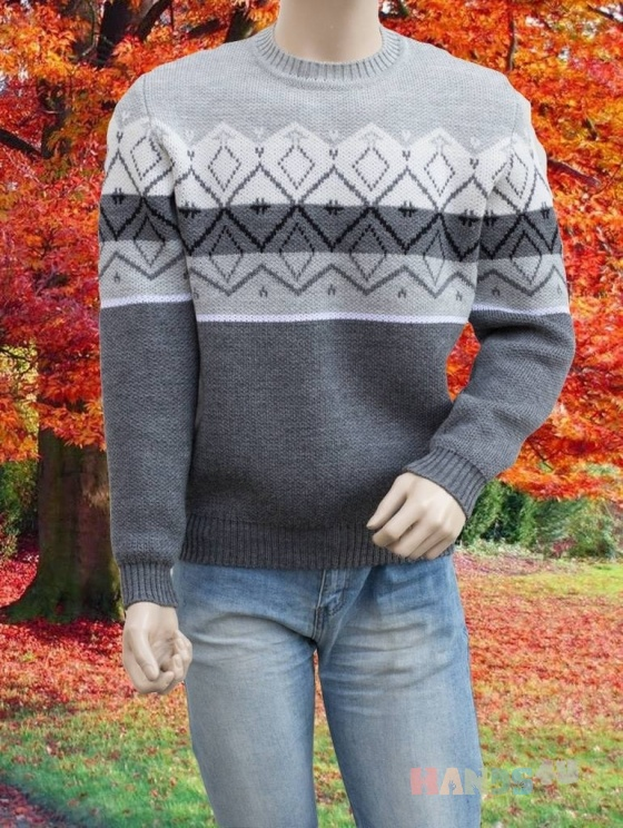 Купить Мужской свитер с геометрическим орнаментом, Свитера, Для мужчин, Одежда ручной работы. Мастер Владимир  (Skiff) . свитер с орнаментом